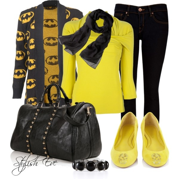 """Black & Yellow Outfit !"" by stylisheve on Polyvore - Like the yellow & black but skip the batman cardigan"