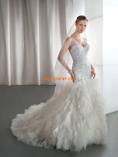 Sheath/Column Chapel Train Crystal Detailing Wedding Dresses 2013