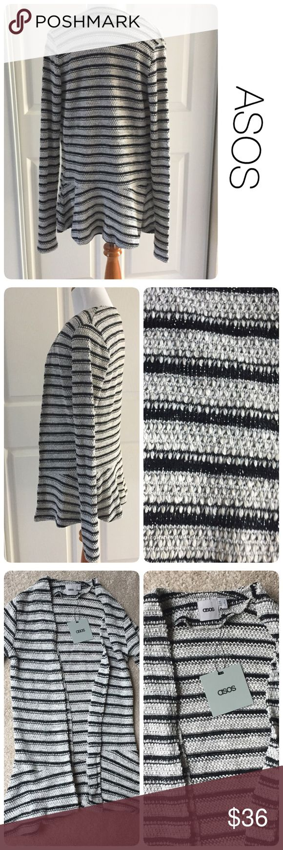NWT ASOS peplum striped metallic cardigan size 4 ♦️New with tag.                                             ♦️Materials- see photo with details ♦️Measurements: ♦️Underarm to underarm flat across is approximately 19 inches   ♦️Back of neck to bottom of front hem is approximately 27 inches ASOS Sweaters Cardigans