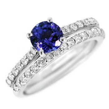 Angara V-Prong Tanzanite and Diamond Cathedral Ring in 14k Yellow Gold opPfQ6do