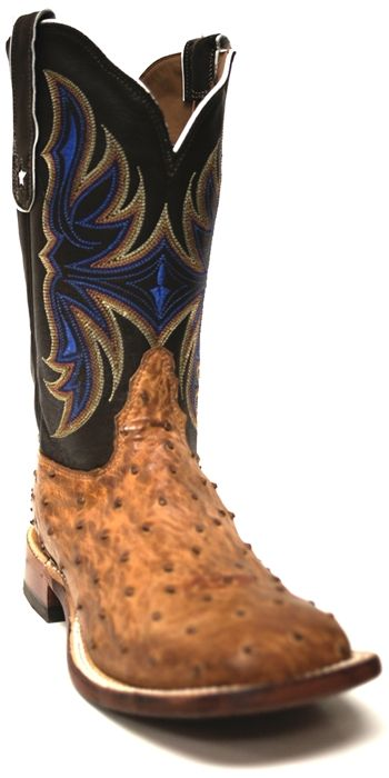 New to STT -- Tony Lama Women's Coffee Vintage Ostrich Cowboy Boot | Tony Lama® has fashioned these women's boots with a Coffee Vintage Ostrich vamp and Chocolate Thoroughbred Tops which are stitched with beautiful blue and tan colors. This boot also features a square toe and embossed Leather outsole. | SouthTexasTack.com