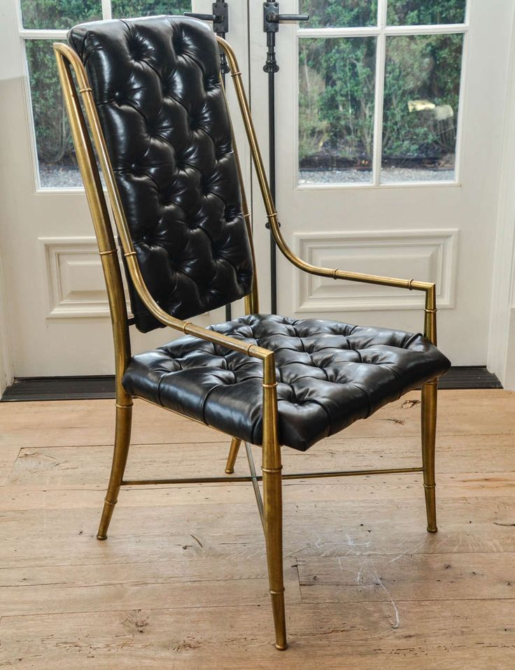 Set Of Eight 1970s Mastercraft Brass And Leather Dining Chairs Modern Room