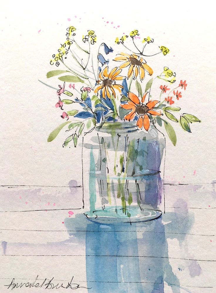 Signed Original Watercolour -Flowers in a Jar - by Annabel Burton