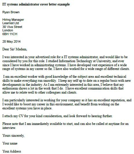 IT Systems Administrator Cover Letter Example