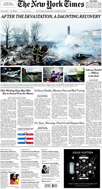 Front Pagenew York Times Design Of: 24 Best Hurricane Sandy Front Pages Images On Pinterest