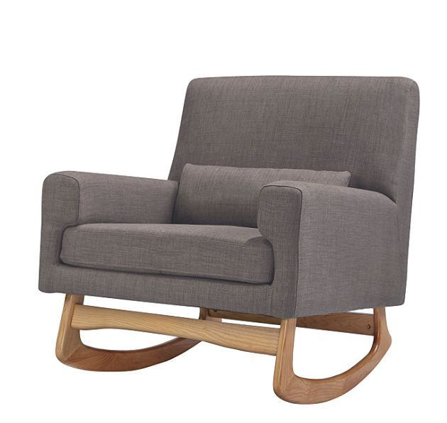 ABOUT The well-balanced Sleepytime Rocker is lightly padded and finely upholstered with a fitted back using a crisp and rich polyester, linen and viscose blend. Ash hardwood legs allow for a smooth ro
