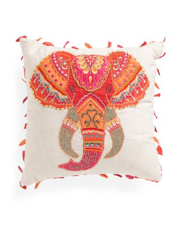 Made In India Embroidered Elephant Pillow - Throw Pillows - T.