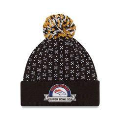 Denver Broncos New Era Women's Super Bowl 50 Bound Cuffed Knit Hat with Pom - Black