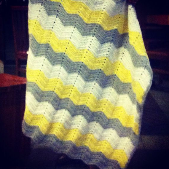 Chevron design crochet baby blanket by sophiezhappy on Etsy, $50.00