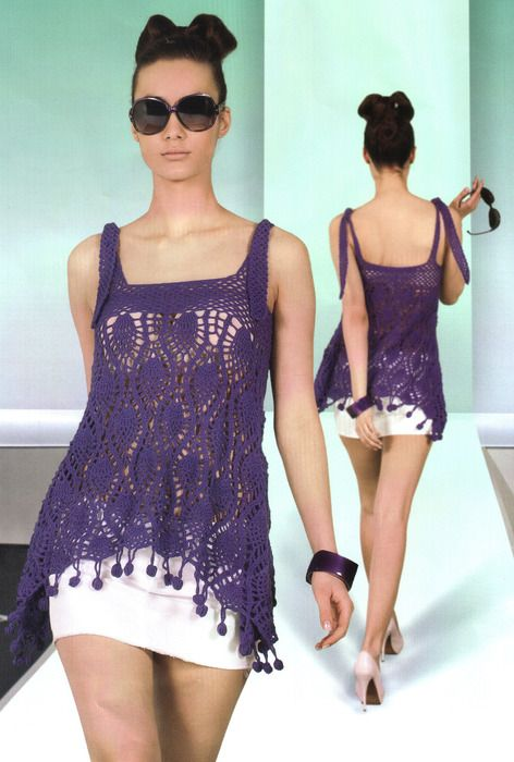 Lace purple top, free crochet pattern (chart).