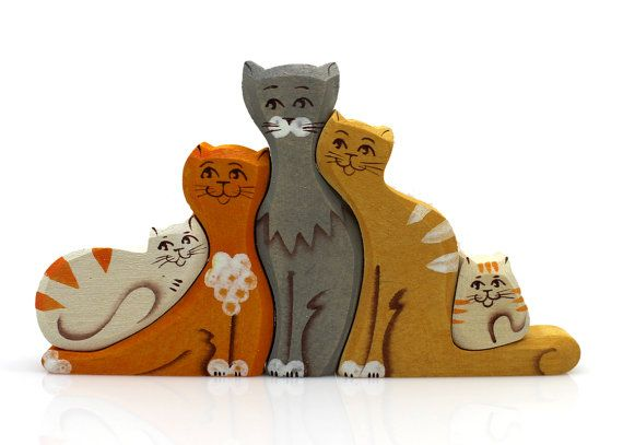 Wooden Puzzle Cat Family Toy, Natural Organic Eco Friendly Waldorf Education Children Baby Kids Game