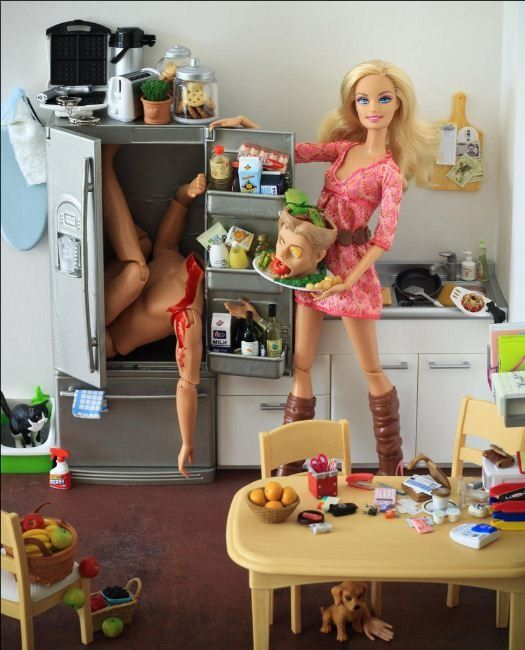 """by Mariel Clayton; her reasoning: """"Because I hate Barbie. I intensely dislike the stereotype that the 'ideal' female fits no current authentic female form. You can't get to be Barbie without an ocean's worth of peroxide, 27 plastic surgeries and a complete lack of intelligence, so it irritates me immensely that this is the toy of choice women give to their daughters to emulate. Behind the vacuous perpetual lipsticked-smile lurks the black heart of the true sociopath, just like in real life."""""""