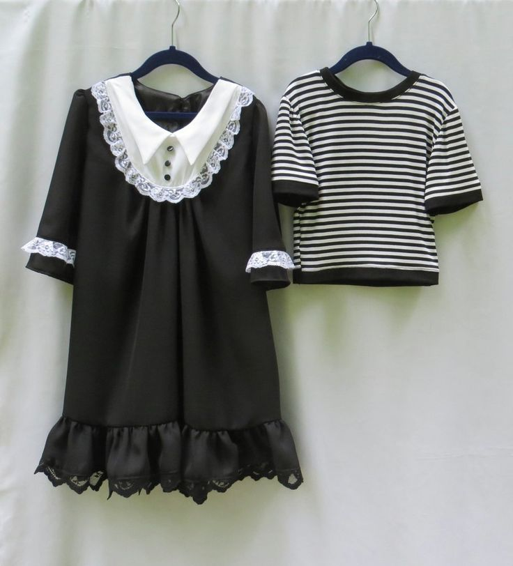 This Wednesday dress and Pugsley shirt is a fun costume selection for Halloween, dress up your kids with Addams family theme. #Wednesday #Pugsley #Addams #Children's #Costumes #Halloween