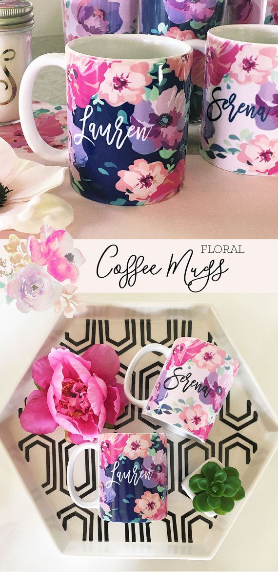 Personalized floral mugs