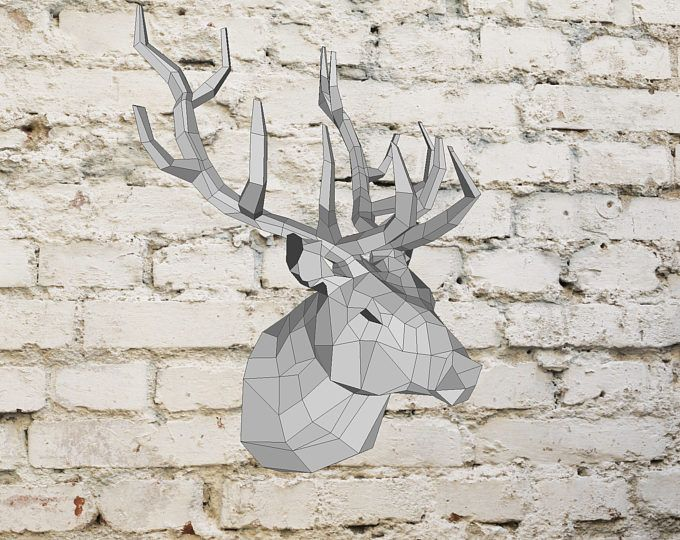 Deer Head | Paper Deer Head | Origami Deer Head | Pocket Deer Head | Polygonal | Papercraft | Lowpoly | DIY Template | Instant Download