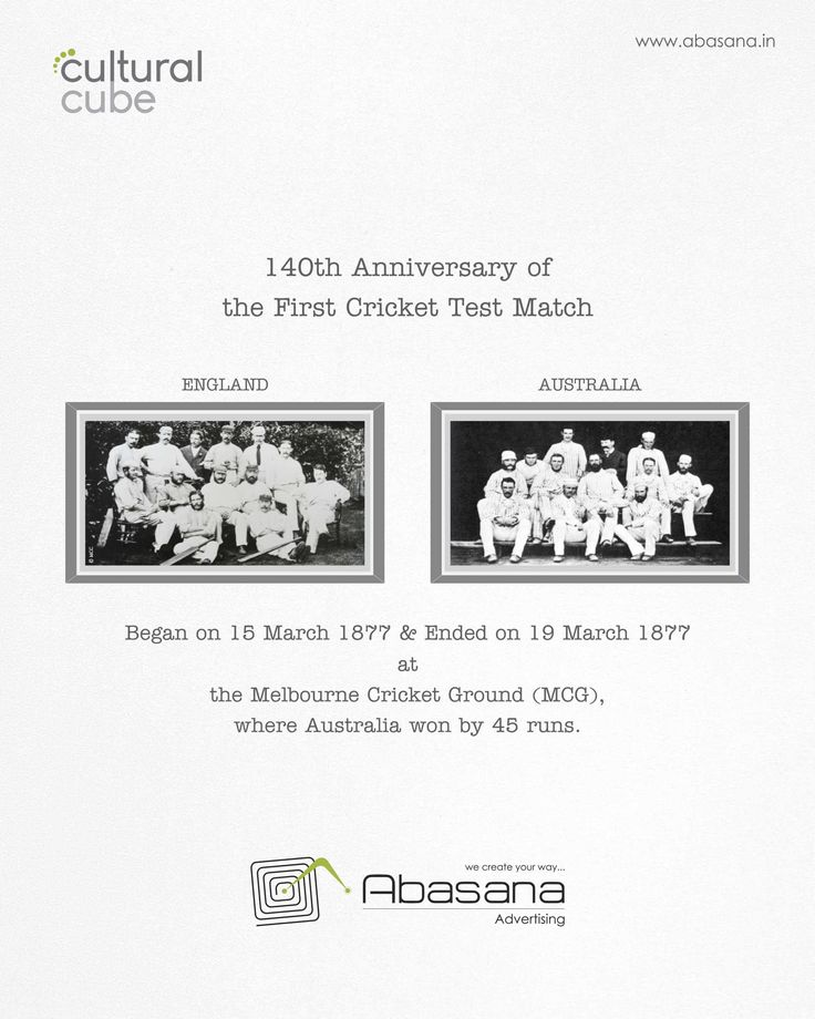 140th Anniversary of the First Cricket Test Match Agency: Abasana Advertising www.abasana.in