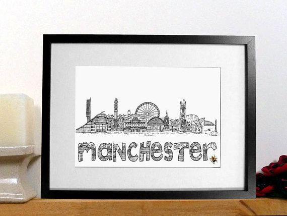 Manchester print  Manchester bee skyline landmark print