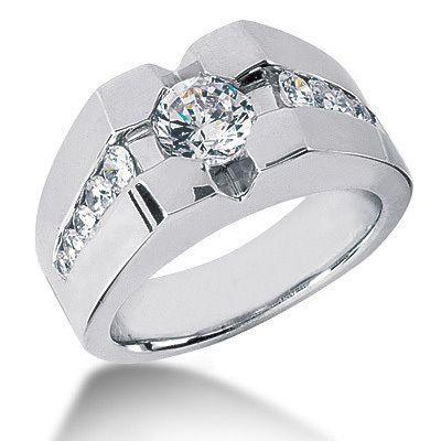 Men's Solitaire Diamond Rings | Home White Diamond Rings 1.73ct Men's Diamond Solitaire Pinky Ring ...