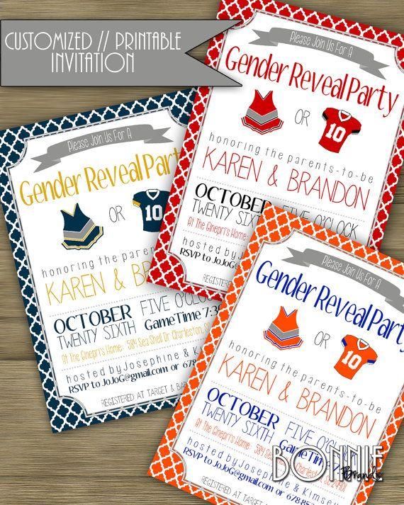 CUSTOMIZED // PRINTABLE // Baby Gender Reveal Invitation // Football Baby Shower Theme // @bonniebrands #bonniebrands