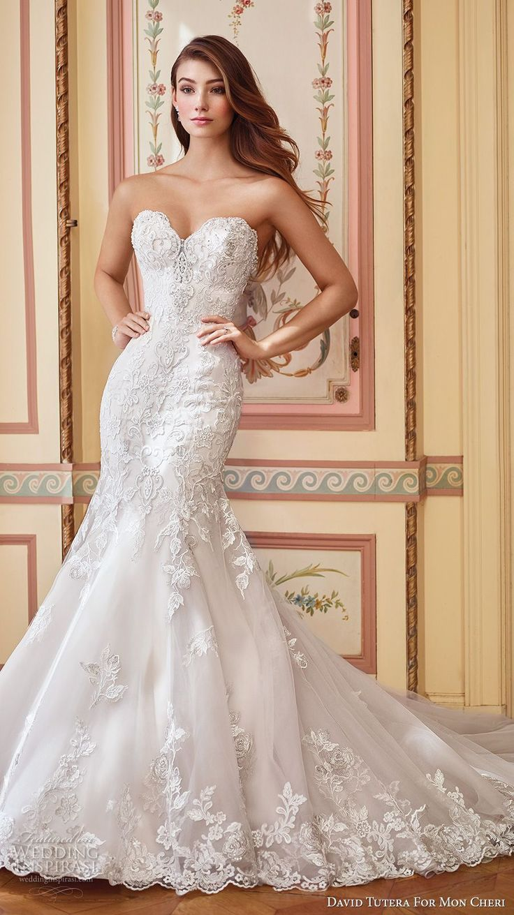 david tutera mc spring 2017 bridal strapless sweetheart neckline heavily embellished bodice elegant sexy fit and flare wedding dress chapel train (117284) mv