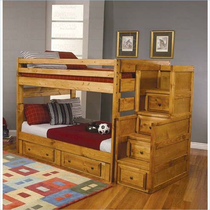 Coaster Rustic Full Over Wood Stairway Bunk Bed In Amber Wash 460096 Pkg