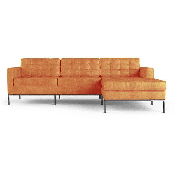 Joybird Franklin Mid Century Modern Orange Leather Sectional ($6,239) ❤ liked on Polyvore featuring home, furniture, sofas, orange, sectional sofas, orange leather couch, midcentury modern sofa, leather couch, mid-century sofa and orange leather sofa