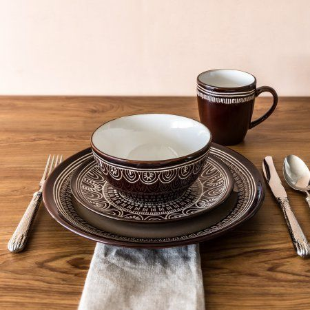 Durable enough for everyday use Microwave and dishwasher safe Oven safe up to 450 degrees from oven to table Material content stoneware 4 dinner plates ... & 87 best Stoneware/Dinnerware/Ceramics images on Pinterest | Ceramic ...