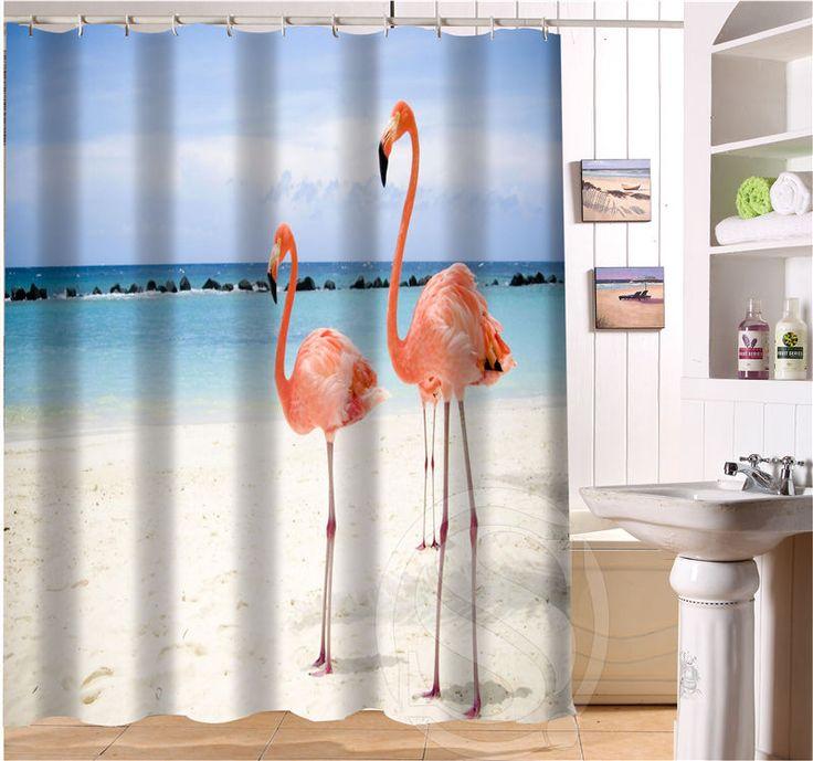 livraison gratuite belle flamingo personnalis rideau de douche plus taille tissu imperm able. Black Bedroom Furniture Sets. Home Design Ideas
