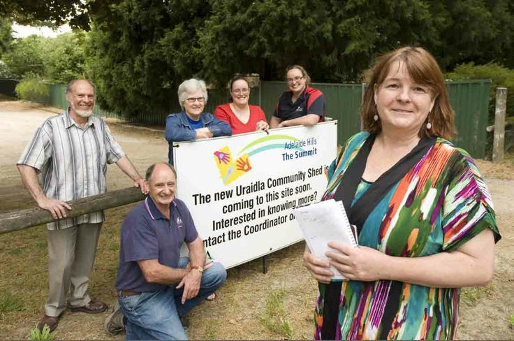 Excitement is building in Uraidla as the town comes   closer to getting its own community Men's Shed which   has been almost two years in the making. Photo: At   the site of the new men's shed in Uraidla are John   Bourne, Terry Beeston, Evelyn Bourne, Natasha   Cramond, Sarah Cramond and Lynne Griffiths. Photo by   John Hemmings.   http://adelaidehills.realviewtechnologies.com/