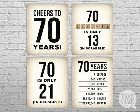 70th Birthday PRINTABLE Sign Pack, 70th Birthday DIGITAL Posters, Cheers to 70 Years Sign, 70th Birthday Decorations, Instant Download