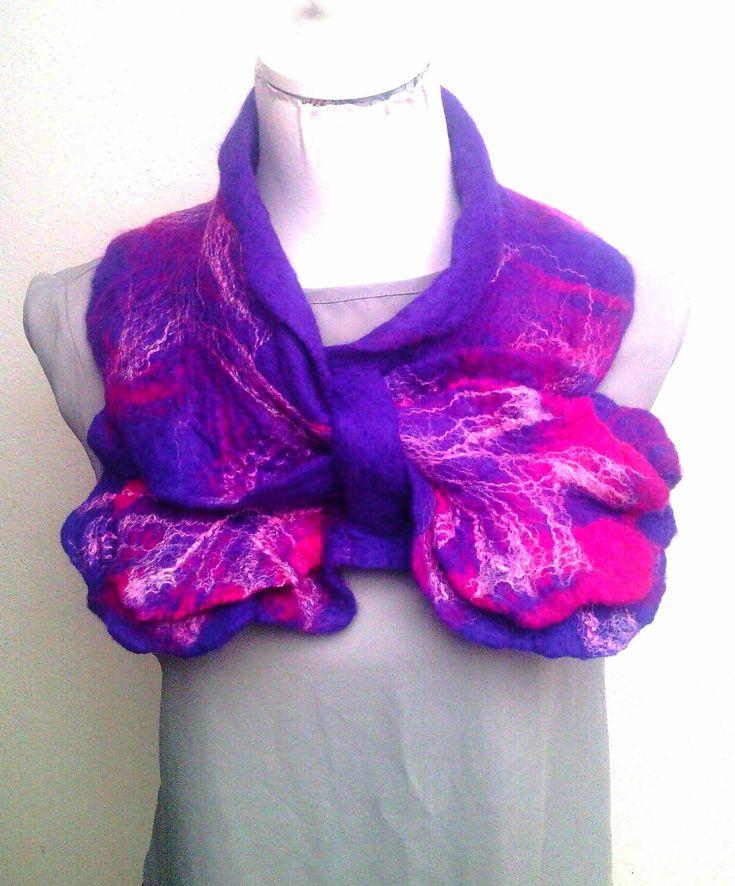 Atlantic Collection : purple & Pink DOUBLE RUFFLE Collar by FeltbyJayneGillan on Etsy