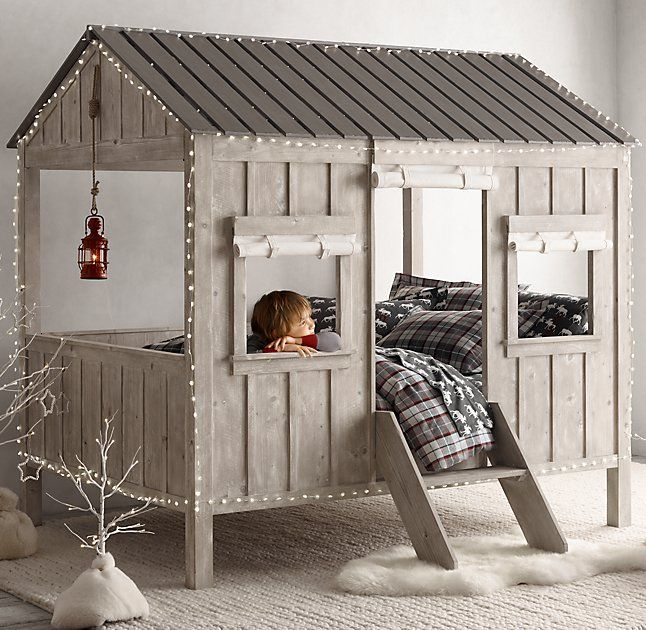 Rh baby s cabin bed we combined charming cabin detailing with kid friendly