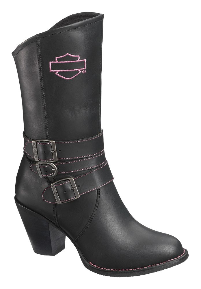 pink and black harley boots | Harley-Davidson® Womens Maddison Pink Label Black Leather Mid Cut ...I Want These!!!