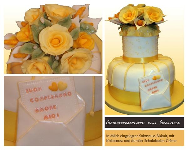 Birthaday cakes with zellow roses
