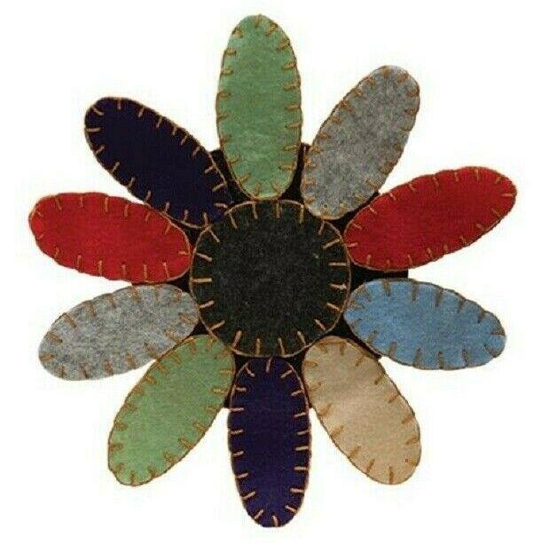"PENNY STITCHED CANDLE MAT Doily Primitive Folk Art Black Wool Felt 16/"" W 26/"" L"