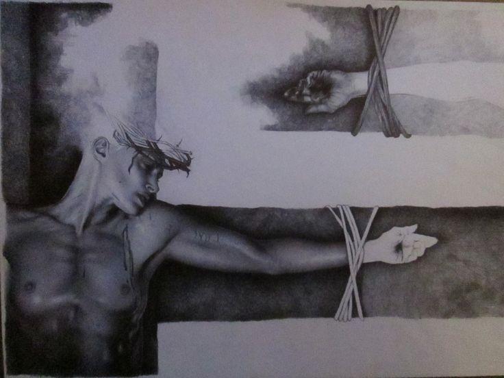 """""""CRISTO..."""" disegno a BIC su carta 48x33cm Roma 2011"""
