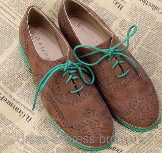 Туфли оксфорды женские коричневые с зеленой подошвой - DRESS-Express в Киеве