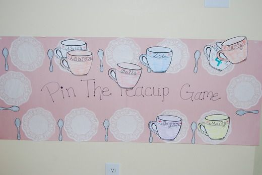 pin the tea cup game!  Going to do this for her party, need to make this!