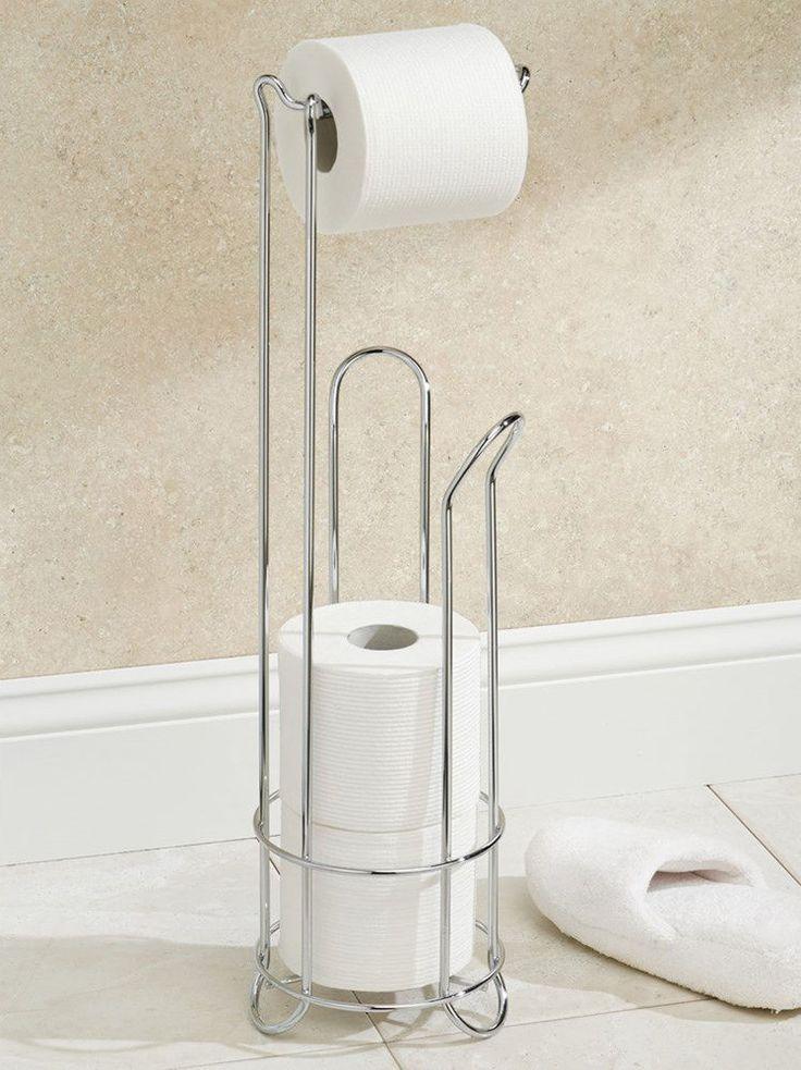 free standing toilet paper tissue roll holder storage stand bathroom organizer