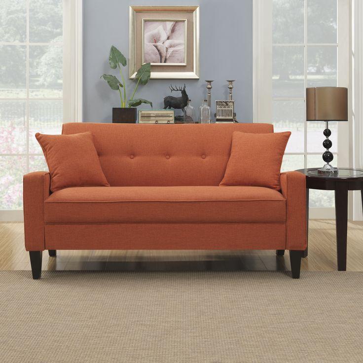 Portfolio ellie orange linen sofa foam loveseats for Couch 0 interest