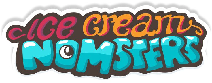 Ice Cream Nomsters - logo | Ice Cream Nomsters is a time management game with refreshingly weird ice cream and monsterous houses! Om nom nom! More info: http://icecreamnomsters.com #icecreamnomsters