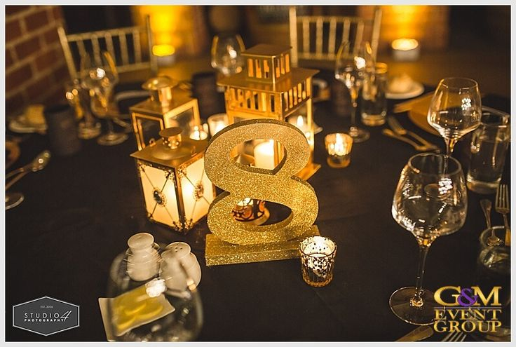 Glitter Table Number for Black & Gold Wedding // A Magnifique  D R E A M  Wedding at Sirromet Winery // Wedding MC + DJ + Lighting Design #MCGlennMackay #DJBenShipway #GMEventGroup #GMDJs #GMLighting #WeddingLighting #WeddingMC #WeddingDJ
