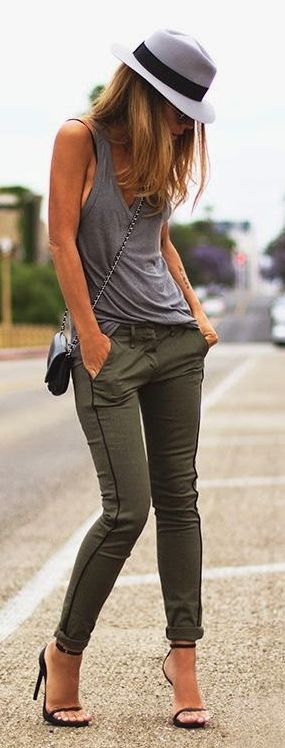 Hat, gray shirt, olive pants