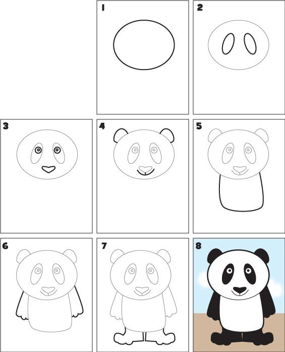 Download this free pdf and teach your class/child how to draw a panda. www.kidscoop.com
