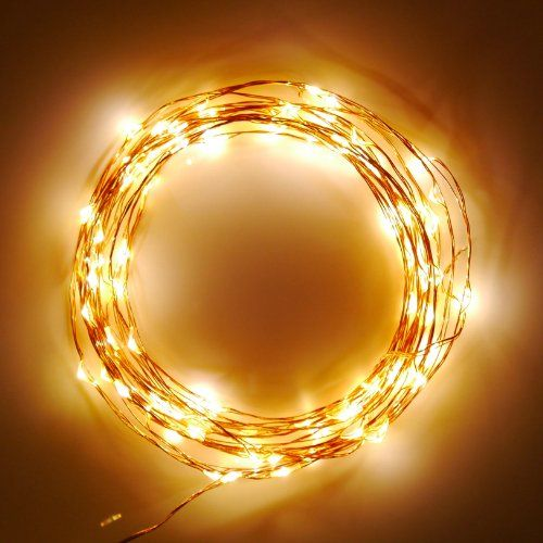 JEBSENS - Starry String Lights - Warm White Color on Copper Wire - 16ft LED String Light 100 Individual LED's on Copper Wire- Includes Power Adapter, Perfect for Accenting Your Patio, Backyard, Bedroom, Living Room - LED Light Strings Ideal for Outdoor Holiday Dressing or for A Last-Minute Dancing Party, Chrismas Decoration - String Lights Outdoor and Indoor Usage - Premium Quality with 1 Year 100% Satisfaction Guarantee! ...