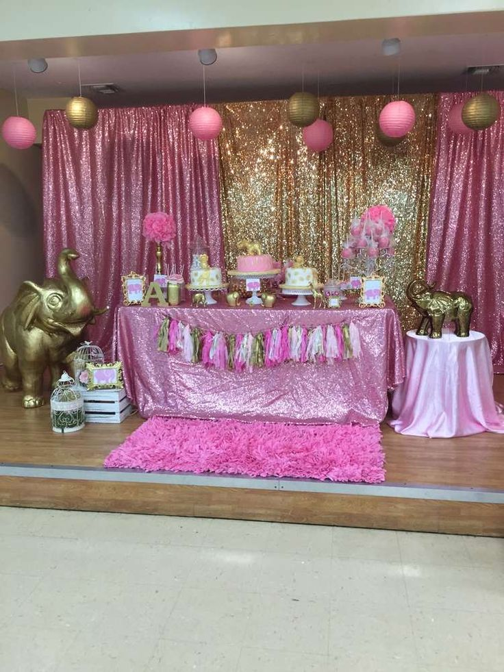 Pink & Gold Safari Baby Shower Party Ideas in 2019 | Baby ...