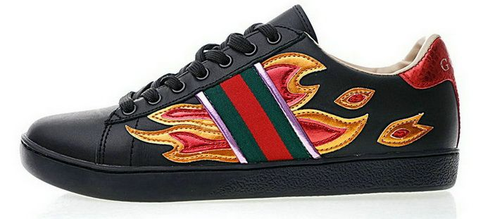 183d92e0aedc Cheap GUCCI Ace Embroidered Low Top Fire Flame black For Sale Gucci Barato