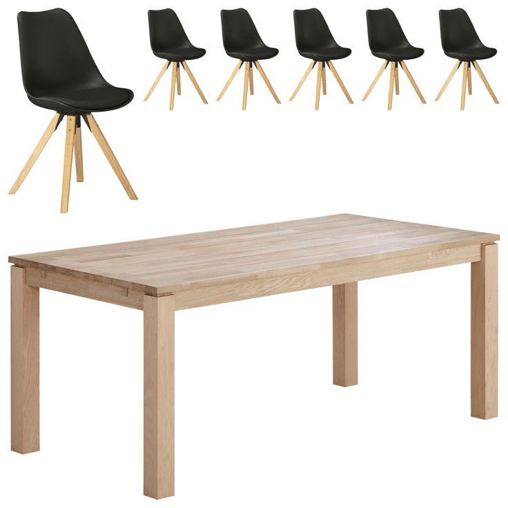 Essgruppe Skanderborg/Blokhus (180x90, 6 Stühle, Schwarz) Jetzt Bestellen  Unter: