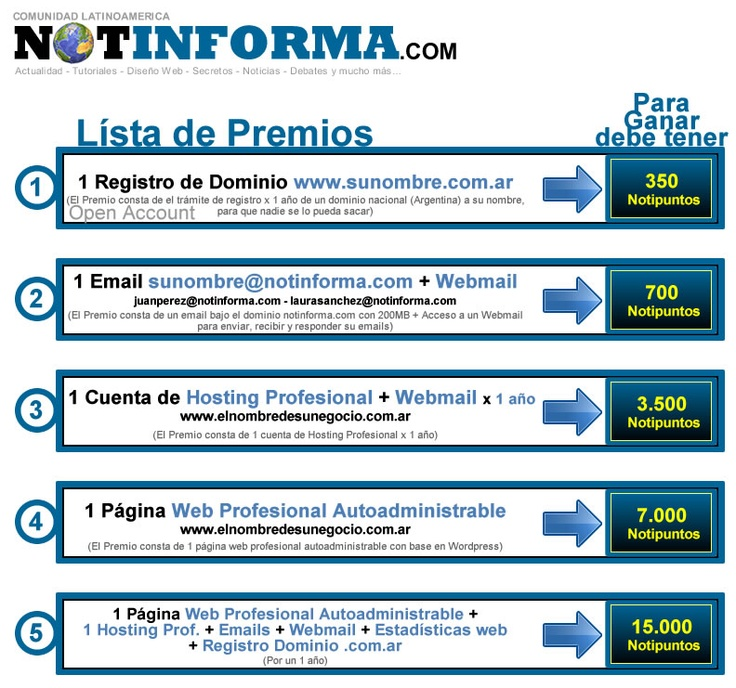 Notipuntos x PREMIOS    http://www.notinforma.com/notipuntos-premios/