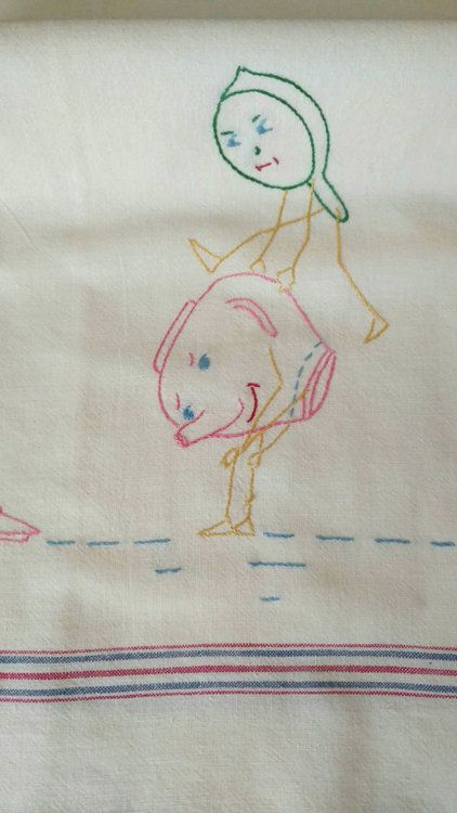 Vintage Kitchen Dish Towel Embroidery On Feed Flour Sack Sacking